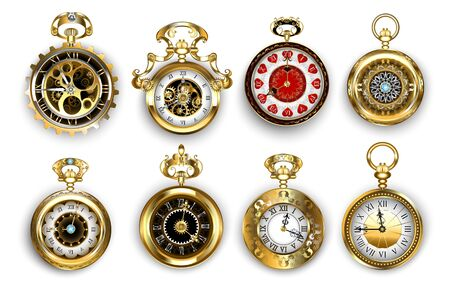Set of old, jewelry, antique, gold watches, decorated with pattern and brass gears on white background. Steampunk style. Vintage pocket watch.