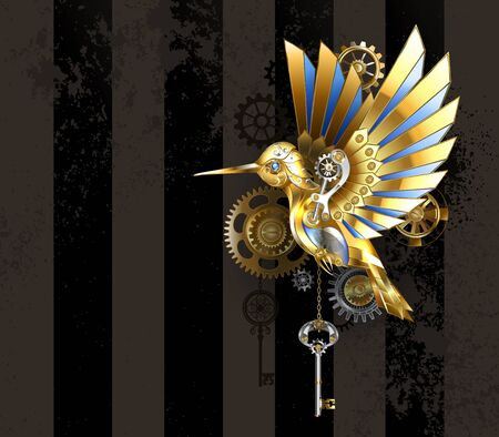 Steampunk, antique, golden, mechanical hummingbird with brass gears and silver key on striped, brown background. Gold bird.