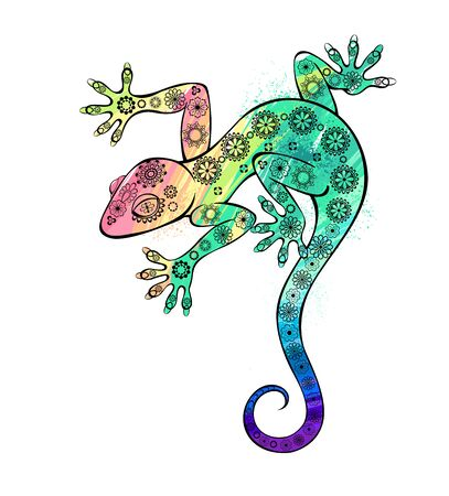 Rainbow gecko lizard painting watercolor on white background.