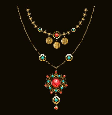 Gold patterned medallion with turquoise, carnelian and jasper, on long brass chain on dark background, made in ethnic, oriental style. Boho style.