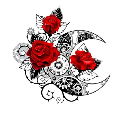 Contour, mechanical crescent moon with gears, decorated with red roses with black spiked stems and leaves on white background. Tattoo style.