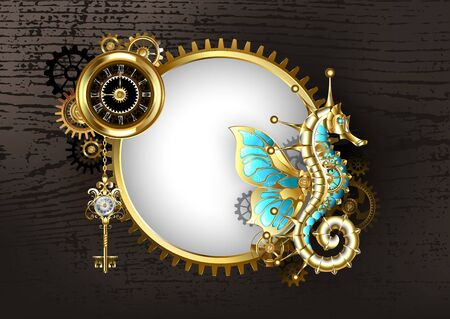 Antique, round banner with mechanical seahorse, antique watch with black dial and brass gears on brown wooden background. Steampunk style. Ilustración de vector