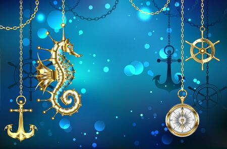 Jewelry, antique, mechanical seahorse on marine, underwater background with gold anchor and helm hanging on metal chains.