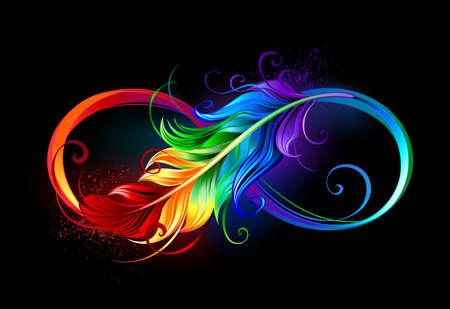 Artistically drawn infinity symbol with beautiful rainbow feather on black background. Vektoros illusztráció