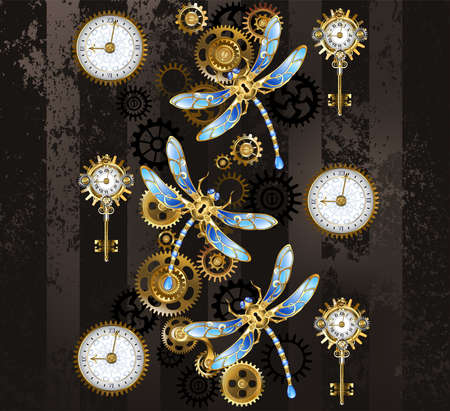 Antique dials and keys with gold and brass gears, decorated with mechanical, steampunk dragonflies on brown, striped background.