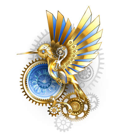 Steampunk, antique, gold, mechanical hummingbird with brass and gray gears on white background. Mechanical bird.