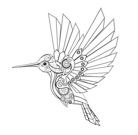 Black, contour, mechanical hummingbird with contour gears on white background. Steampunk style.