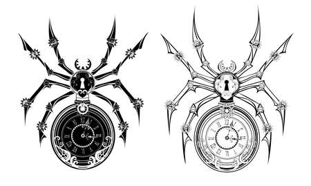Two mechanical, monochrome, isolated, contour spiders with dial and keyhole on the abdomen. Steampunk style.