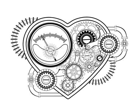 Contour, mechanical heart with gears, pressure gauge and springs on white background. Steampunk style. Ilustração