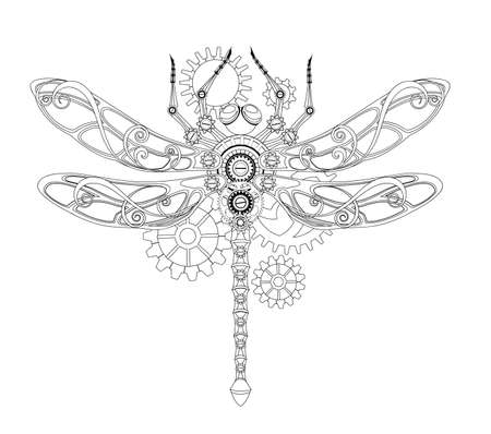 Antique, contour, mechanical dragonfly with gears on white background. Steampunk style.