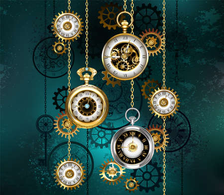 Jewelry, antique watches with gold chains, brass gears and silhouette dials on green textured background. Steampunk style.