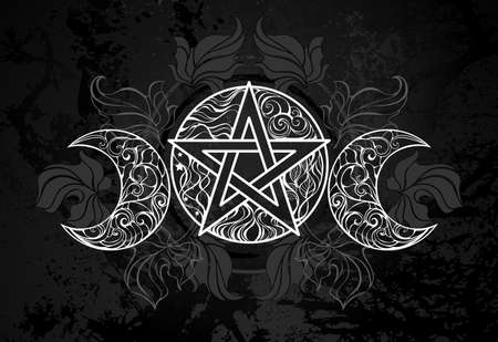 White, patterned, contour pentagram with crescents on black textured background with dark fallen leaves. Wiccan symbol.