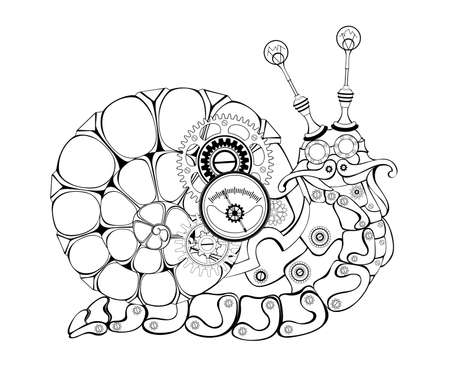 Mechanical snail made of brass, metal parts with luminous, blue, spiral shell, decorated with gears on brown background. Steampunk style. 矢量图像