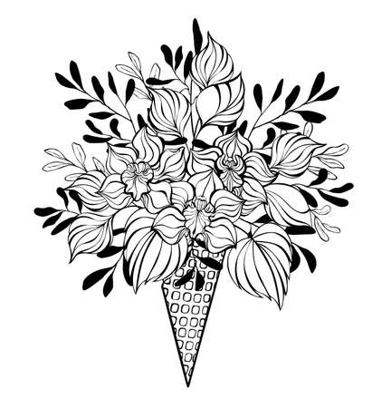 Contour waffle cone with bouquet of artistic, contour orchids and decorative plants drawn in black outline on white background. Coloring.