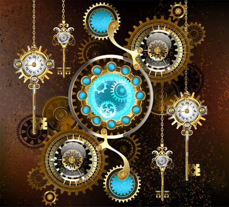 Turquoise lenses with an antique watch with brass gears and golden keys on rusty, brown background. Steampunk style. Vector Illustration