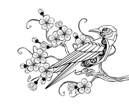Outline black mechanical bird with gears sits on blossoming sakura branch. Steampunk style.