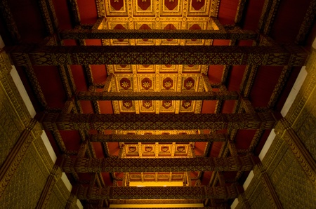 The art of Thai architecture, top view of wooden ceiling in the Thai temple