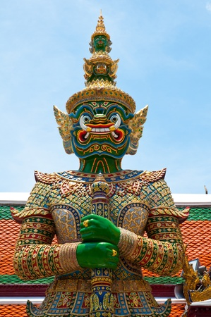 Green Demon Guardian at Wat Phra Kaew, Temple of the Emerald Buddha, Bangkok, Thailand. photo