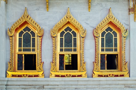 profound: Thai style buddhism temple window of Wat Benchamabophit is a temple compound of profound beauty and religious importance Wat Benchamabophit is a royal monastery belonging to the first class ranking of Rajavaravihara  Few wats belong to this class in Bangk