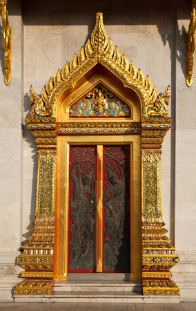 profound: Thai style buddhism temple window of Wat Benchamabophit is a temple compound of profound beauty and religious importance.Wat Benchamabophit is a royal monastery belonging to the first class ranking of Rajavaravihara. Few wats belong to this class in Bangk