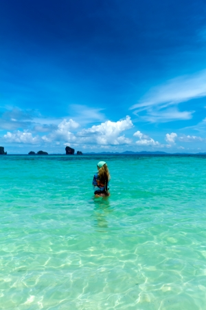 woman in bikini on the summer beach with beautiful sky, Krabi ,Thailand