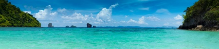transparent blue sea at snorkeling spot in Krabi islands national park, Thailand Stock Photo