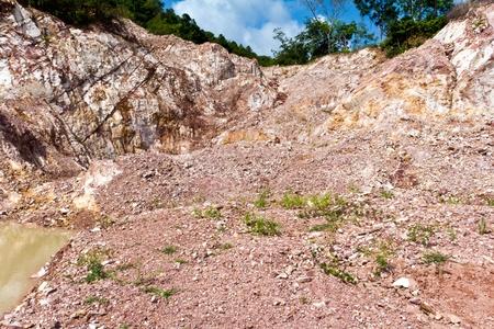 land slide: Hill after landslip on the  landscape deformation Stock Photo