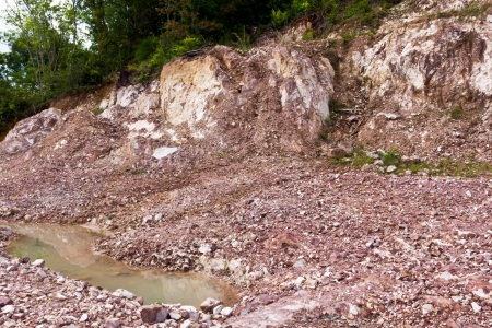 Hill after landslip on the  landscape deformation Stock Photo