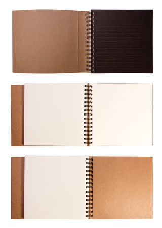 Blank open drawing book isolated on white background  photo