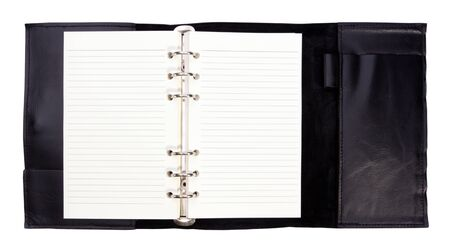 Modern design note book with black leather note book cover isolated on white background