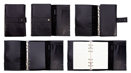 Black leather note book on white background photo