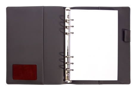 Grey colour page of note book on white isolate. Stock Photo - 13933541