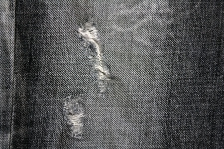Detail of torn Black denim, front view  jean  background or texture Stock Photo - 13984387