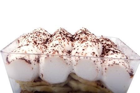 Banana chocolade cup cake met slagroom Stockfoto