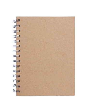 Recycled paper blank notebook front cover on white background. photo