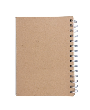 Recycled paper blank notebook back cover on white background. Stock Photo