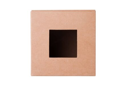 Cardboard box front view with isolated on white Stock Photo - 14121175