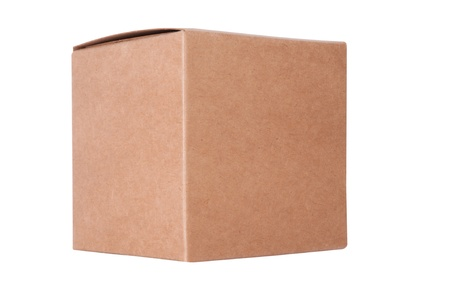 Cardboard box front side with isolated on white Stock Photo - 14121180