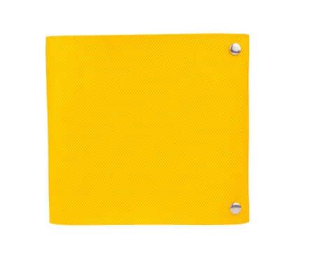 Modern design note book yellow leather note book cover isolated on white background with clipping path photo