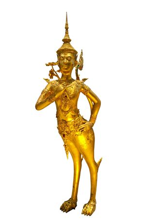 Golden Angel (Kinnari) statue at Wat Phra Kaew temple in Grand Palace on white background , Bangkok Thailand. photo
