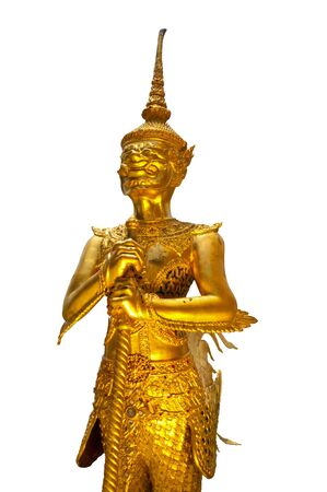 Golden Ogre (Kinnari) statue at Wat Phra Kaew temple in Grand Palace on white background , Bangkok Thailand. photo