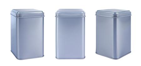 Collectie aluminium Box top geïsoleerd tegen een witte achtergrond