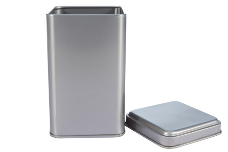 An aluminum Box top isolated against a white background Stock Photo