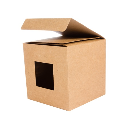 Cardboard box front side with isolated on white photo