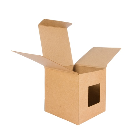 Cardboard box front side with isolated on white Stock Photo - 14306079