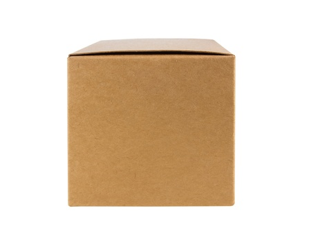 Cardboard box front side with isolated on white Stock Photo - 14306088