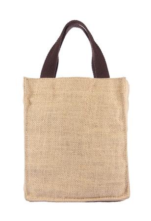 白い背景上に形成とリサイクルの Hessian 袋からなされるショッピング バッグ