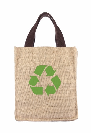 recycle paper: Shopping bag made out of recycled Hessian sack with forming over white background Stock Photo