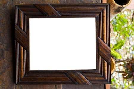 Vintage picture frame, wood plated, wood background photo