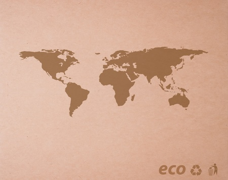 brown recycled paper detail  with Icon ecological map world background photo